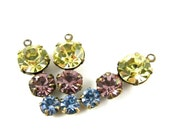 2 - Swarovski Preciosa Crystals Set Stones Rhinestone Drops 1 Ring 23mm Antique Brass Settings Jonquille, Light Amethyst & Light Sapphire .