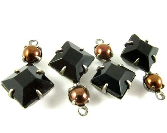 2 - Vintage Glass Square and Round Stones in 1 Ring 2 Stones Silver Antique Brass Prong Settings - Jet Black & Dark Copper - 18x11mm