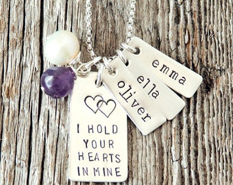 I Hold Your Hearts in Mine Necklace, Mother Necklace, Adoption Necklace, Infertility Gift, Remember