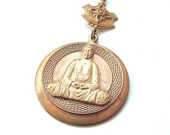 Vintage Buddha Yoga Meditation Pendant Necklace Jewelry