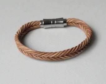 Men Leather Cuff Tan Braided Leather Bracelet with Stainless Magnetic Clasp