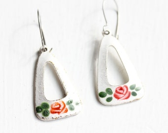 White Flower Triangle Drop Earrings