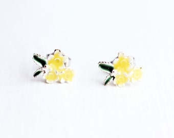 Sample Sale - Antique Yellow Enamel Bouquet Studs