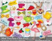 DIY Mad Tea Party printable photo booth props, Alice Adventures In Wonderland party decoration PP005 instant download