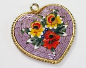 Lavender Mosaic Heart Pendant Vintage Signed Italy
