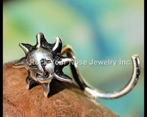 Sun Face Soleil Nose Stud in Sterling Silver - CUSTOMIZE