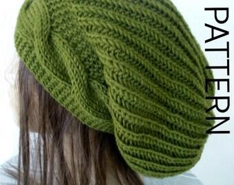 Knitting PATTERN Hat PDF  Instant Download Knit hat pattern Digital   Cable Knit hat  Pattern  diy christmas Slouchy  Hat Pattern Womens hat