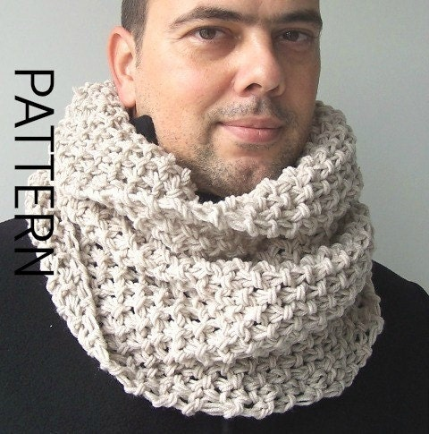 Snowman Knitting Patterns : Chunky Cowl Scarf Knitting Pattern Digital Knitting PATTERN