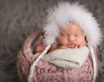 White Knitted Snow Bunny Bonnet - newborn baby photo prop