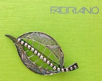 Stunning Cannetille Leaf Brooch . Antique Filigree Pin