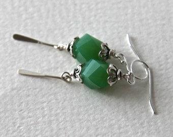 Green Asymmetrical Quartz Sterling Silver Earrings