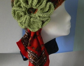 Variegated Orange Green Crocheted Cloche with Sage Green Crocheted Flower