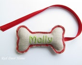 Personalized Embroidered Dog Christmas Stocking Tag Label Gift Name Ornament Green and Red