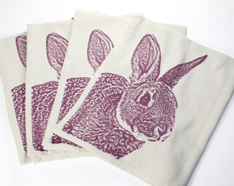 Fuzzy Bunny Napkins in Orchid, Rabbit Napkins - Hand Printed Flour Sack Tea Towel (unbleached cotton)