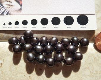 8mm Black Tahitian Pearls - Make Your Own Surfer Pearl  or Lariat on Leather Cord