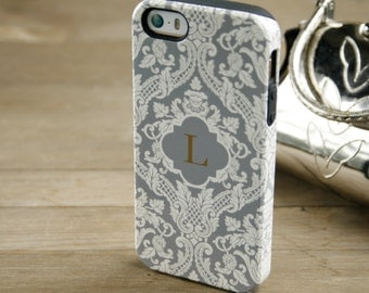 Luxury iPhone 6 Case Monogrammed iPhone 5S Case Monogram Phone Case, Galaxy S6 Cream and Gray Damask iPhone 6 Plus Personalized Gift