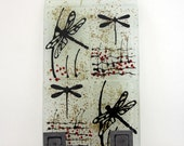 Wall hooks, Fused glass  Hanging Tile Key Rack, Dragonflies Silhouette on ivory Background.