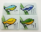 Fused Glass Coasters set  - (4 Coasters) , Colorful bird painting on white Background , House warming gift, Hostess gift, Home decoration