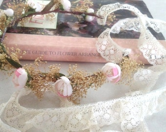 Wedding party Hair accessories Dried Flower Crown Headpiece spring Bridal Floral hair wreath by Michele at AmoreBride Headdress pink halo