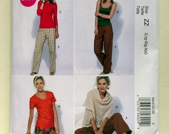 Easy Casual Sportswear or Sleepwear Separates - McCalls 6658 - Out of Print Sewing Pattern, Sizes Lg, X-Lg, XX-Lg