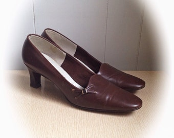 Vintage 1970s Leather Brown Shoes High Heels by Socialites size 9