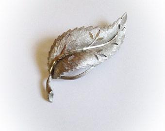Vintage BSK Leaf Brooch Silver Tone Metal