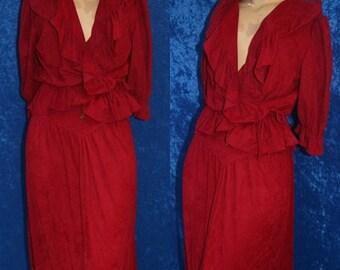 Vintage 70s 1970s Hippie Disco BoHo Wrap Dress Skirt Blouse Shirt Concho Belt Ruffles