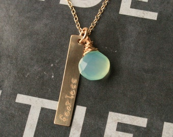 Fearless Gold Aqua Chalcedony Necklace, Gold Pendant