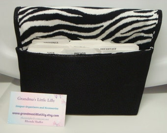 Coupon Organizer Cash Budget Organizer Holder- Attaches to your Shopping Cart -Soft Black Suede Leather/ Zebra Lining