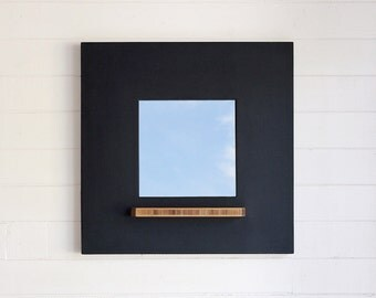 Chalkboard Framed Mirror, Bamboo Plywood Tray, Modern and Hanging