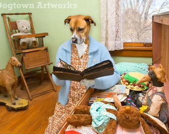 Memories, large original photograph of a nostaglic boxer dog wearing clothes looking through a hope chest