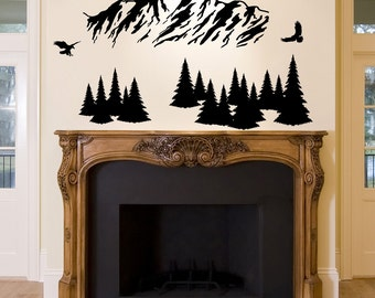 Mountain Range Vinyl Wall Decal, Eagles, Pine Trees, Nature, Forest, Wilderness, Fly, Flight, Outdoors, Rocky Mountains