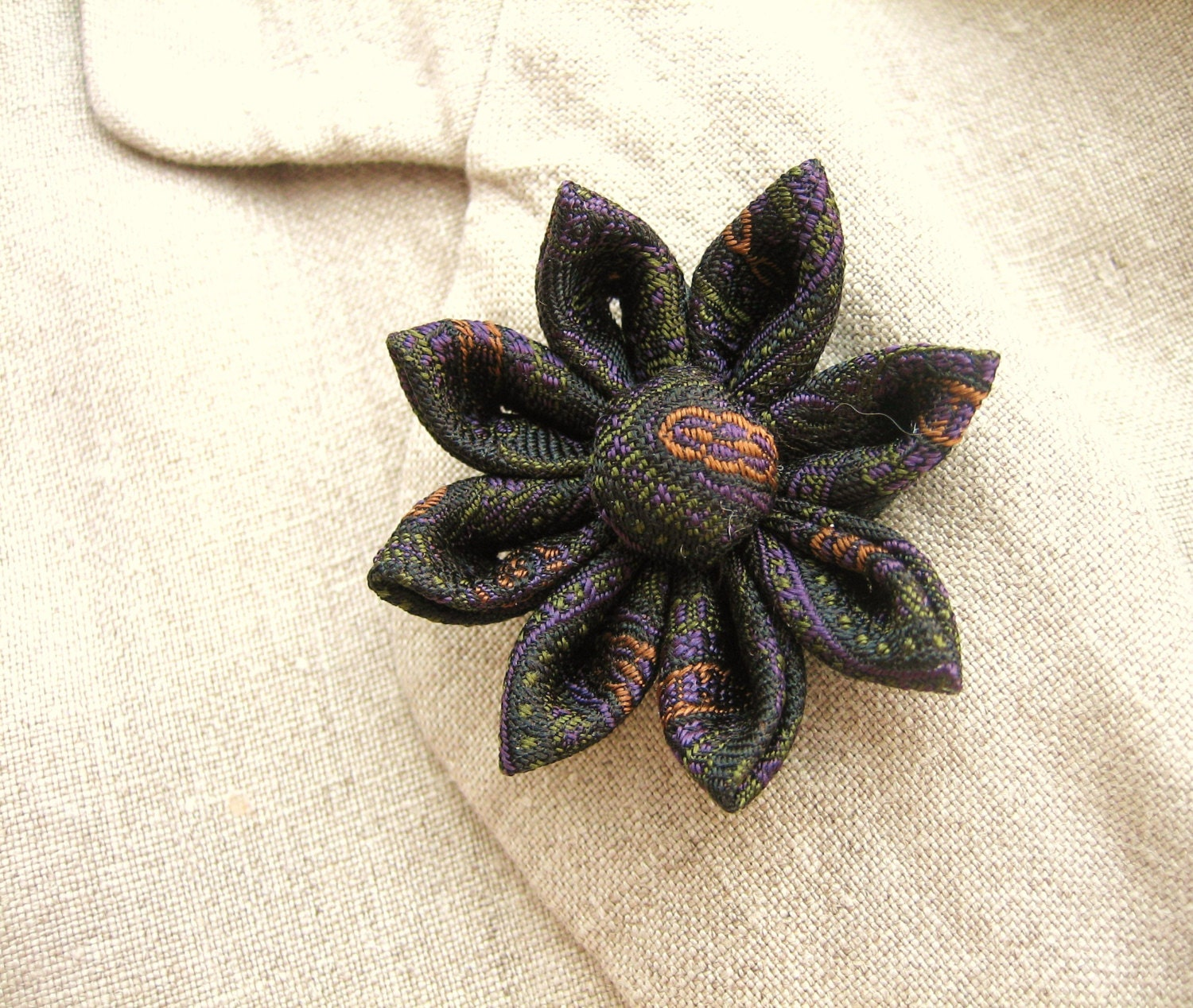 Flower Lapel Pin Kanzashi Dark Daisy by exquisitelapel on Etsy