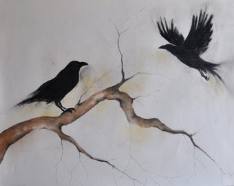 Original Charcoal Drawing Crow Art Dark Gothic Large Drawing 26x20""