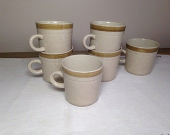 Vintage stoneware mug set Earth tones six Cups Japan