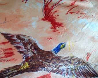 Vintage Scarf Flying Ducks Peach Acetate Bird Mid Century Outdoor Woodland