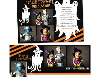 Halloween Mini Session and Facebook Timeline Set - Photoshop Templates - INSTANT DOWNLOAD