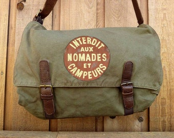 Canvas Messenger Bag with Leather Trim, Hand Painted ..And the sign said... Alternative Apparel