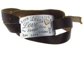 Live Laugh Love Leather Wrap Bracelet Hand Stamped Sterling Silver Rectangle with 14K Gold Heart Accent Personalized Jewelry Engraved Fine