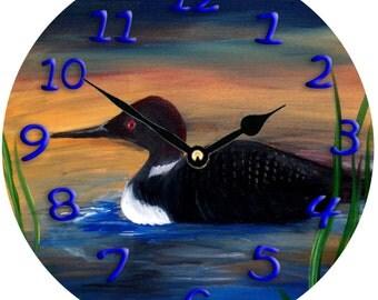 Loon Lake art wall clock