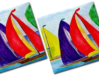 Colorful Sails Nautical Ceramic Tile Coasters from my art