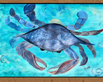 Blue Crab area rug indoor-outdoor area rug,  Floor Mat. Available in 3 sizes