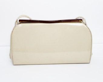 1950s Beige Patent Handbag