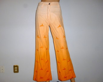 "Free BIRD - Vintage 60's or 70's - Tangerine - Fade Out - BIRD Embroidered - High Waist - Bell Leg - Hippie  - Pants - 26"" waist size"