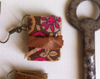 Mini book earrings, vintage fabric and leather