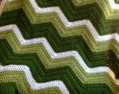 new chevron zig zag ripple baby blanket afghan wrap crochet knit wheelchair stripes VANNA WHITE yarn kelly pea green white handmade in USA