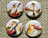 "Set of 4 musician chicks, 1"" inch MAGNET OR PIN button badges - new, handmade, with gift card!"