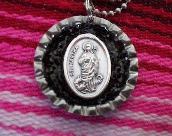 st. martha upcycled bottle cap necklace