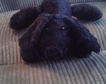 Stuffed Puppy Dog Soft Toy -  Black Minky Dot Fabric - stuffed animal - minky dot dog - Plushie - Custom Colors - Floppy Ears