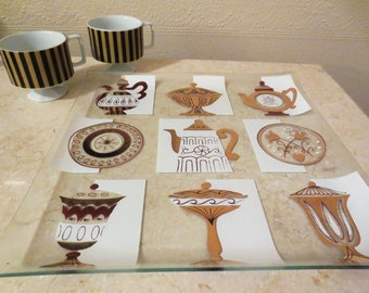 Retro Graphics Glass serving tray- Coffee pots free shipping